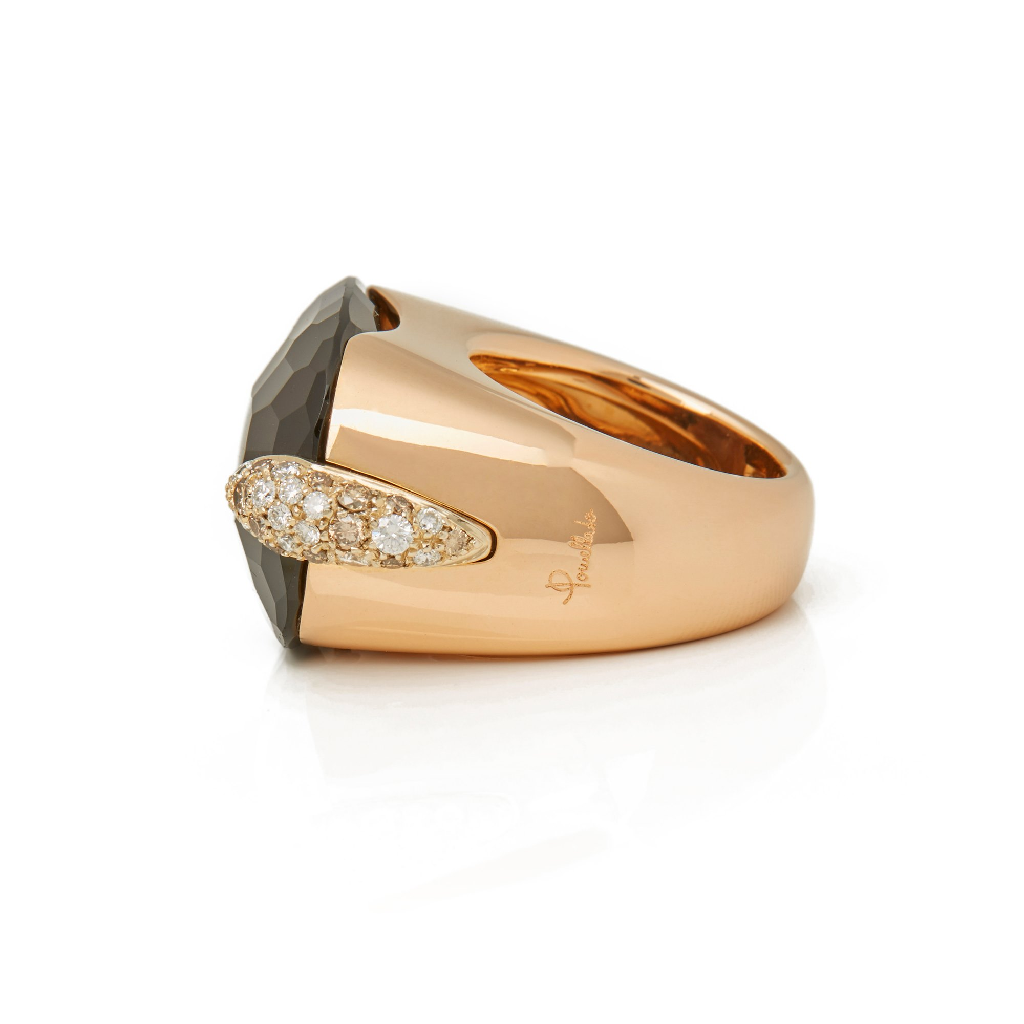 Pomellato 18k Yellow Gold Smoky Quartz & Diamond Cocktail Ring