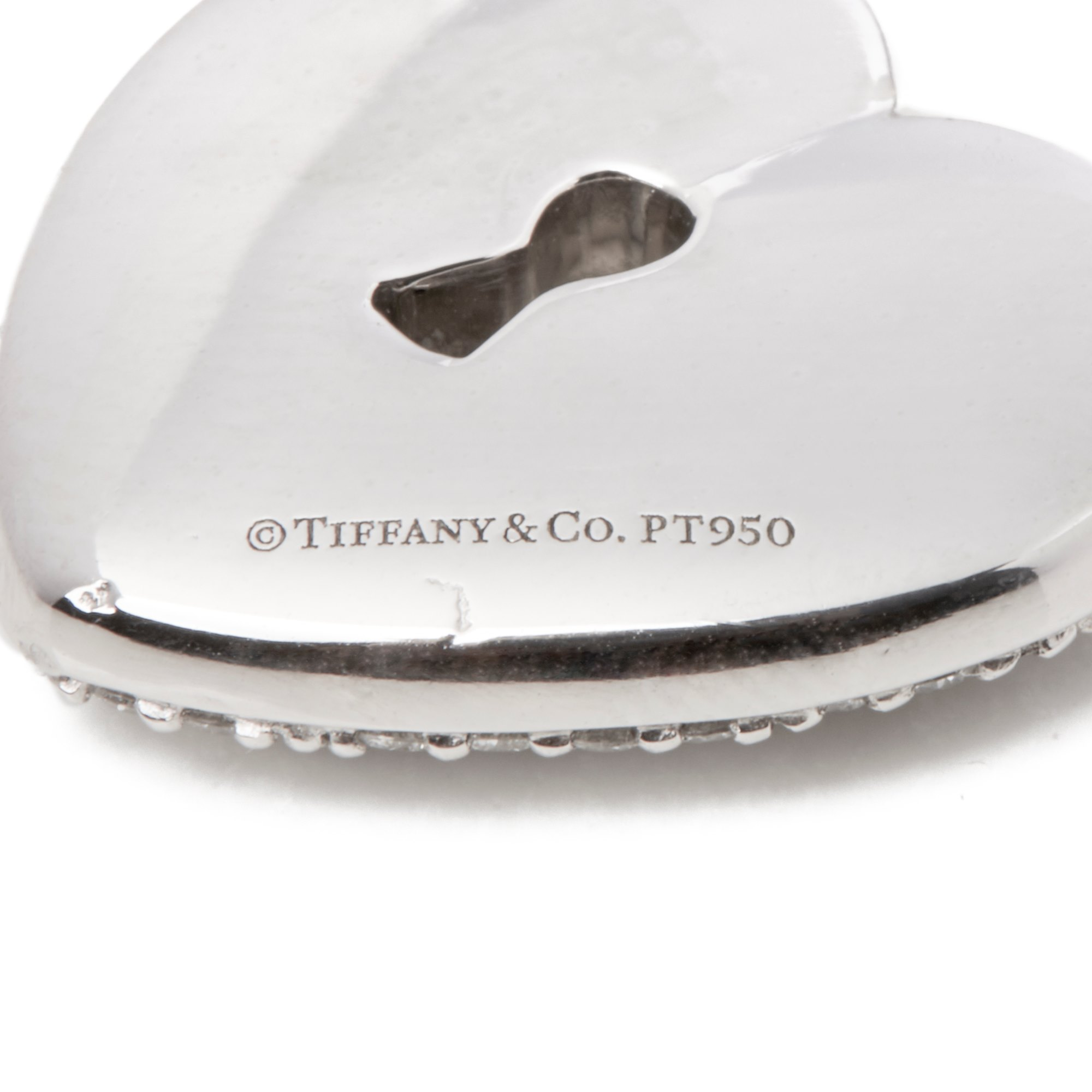 Tiffany & Co. Platinum Diamond Heart Tiffany Key Pendant Necklace