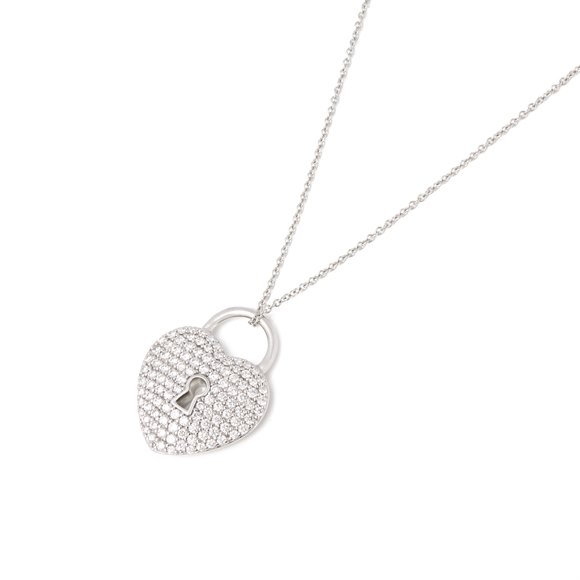 Tiffany & Co. Platinum Diamond Heart Tiffany Key Pendant Necklace