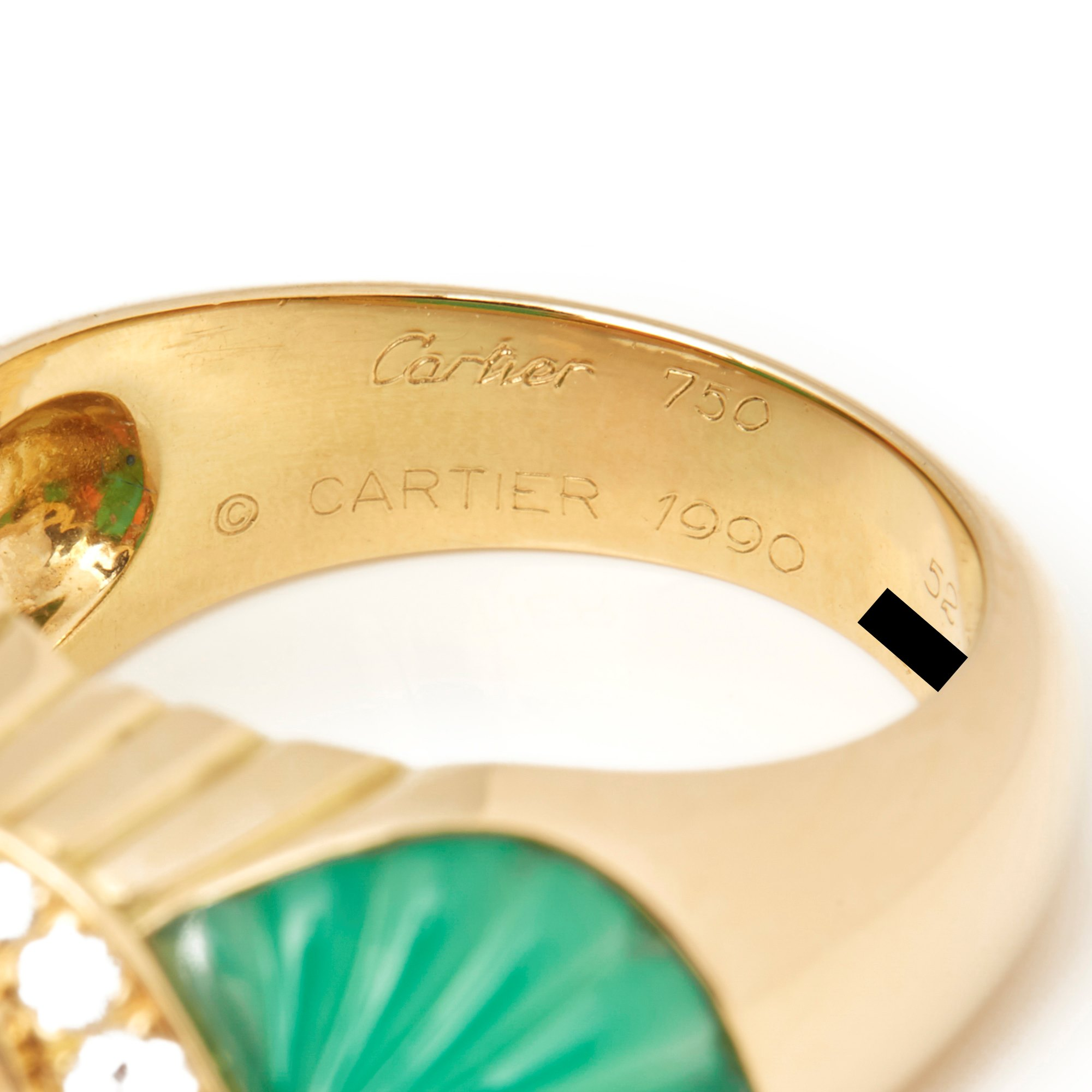 Cartier 18k Yellow Gold Chrysoprase, Coral & Diamond Ring