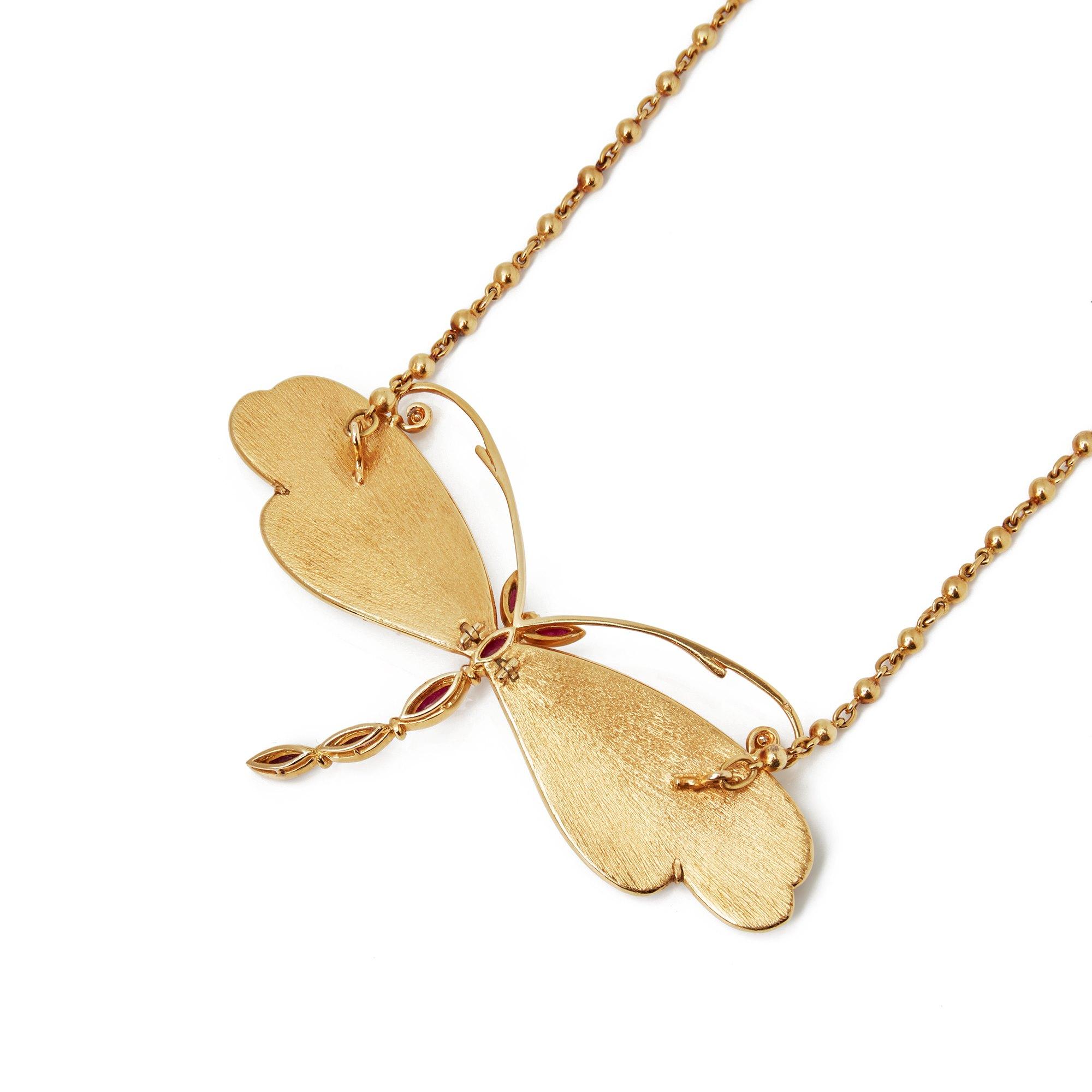 Boucheron 18k Yellow Gold Diamond & Ruby Dragonfly Pendant Necklace
