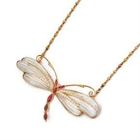 Boucheron 18k Yellow Gold Diamond & Ruby Dragonfly Pendant Necklace