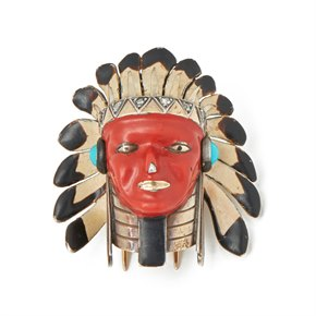 Cartier Gold & Silver Enamel, Turquoise & Diamond Native American Chief Brooch