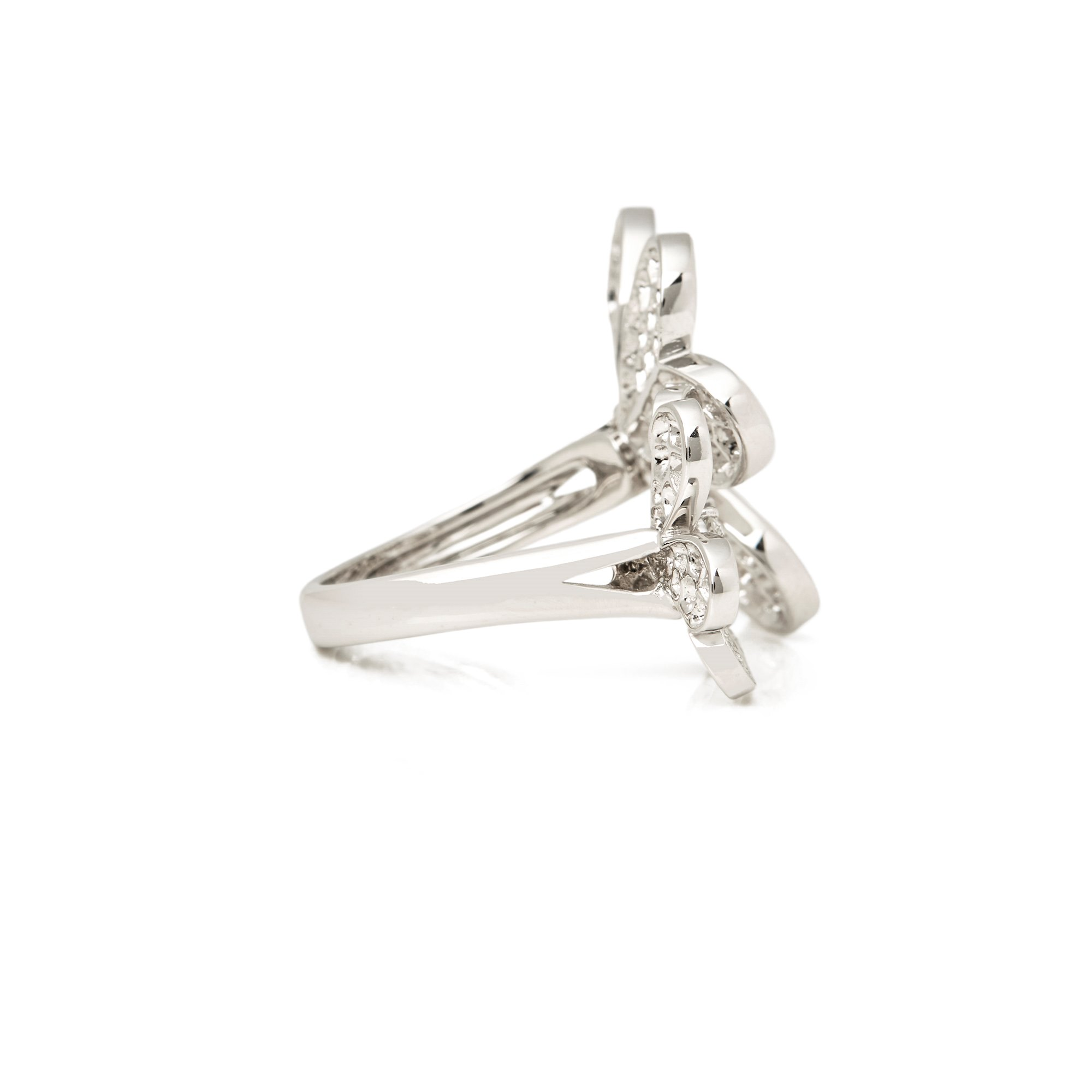 Van Cleef & Arpels 18k White Gold Diamond Frivole Between The Finger Ring