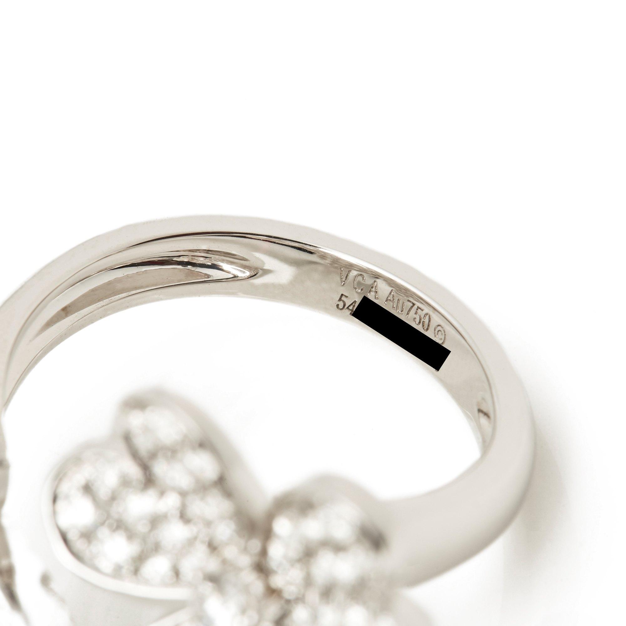 Van Cleef & Arpels 18k White Gold Diamond Frivole Between The Finger Ring