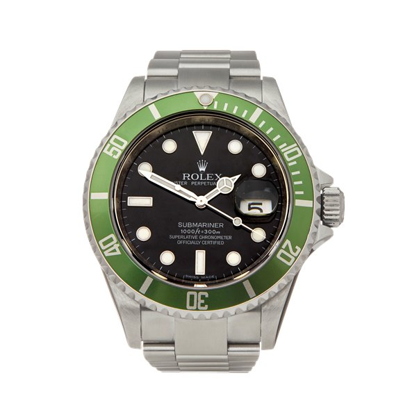 Rolex Submariner Unpolished Kermit Stainless Steel - 16610LV