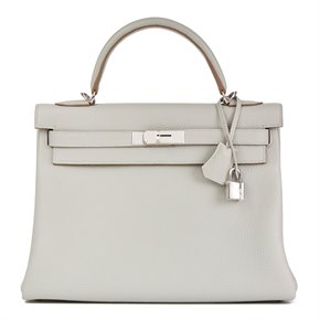 Hermès Gris Perle Clemence Leather Kelly 32cm Retourne