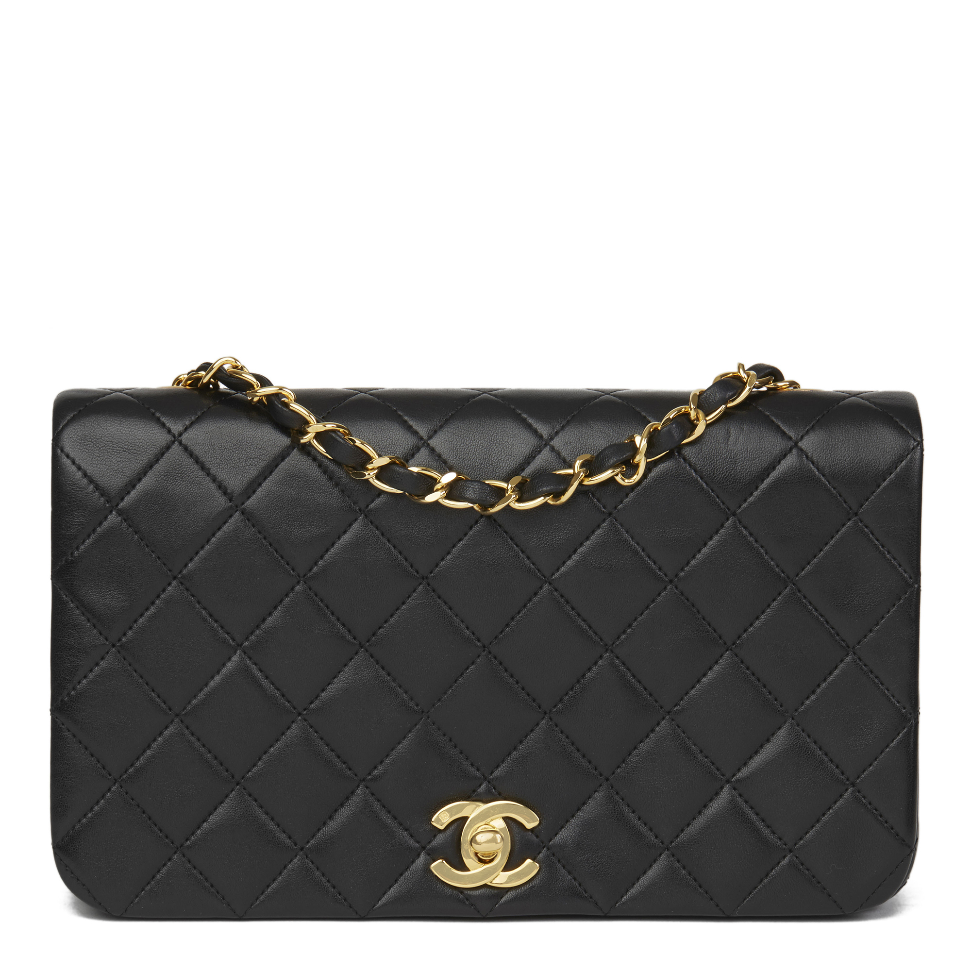 dc862de3f984 CHANEL BLACK QUILTED LAMBSKIN VINTAGE SMALL CLASSIC SINGLE FULL FLAP ...