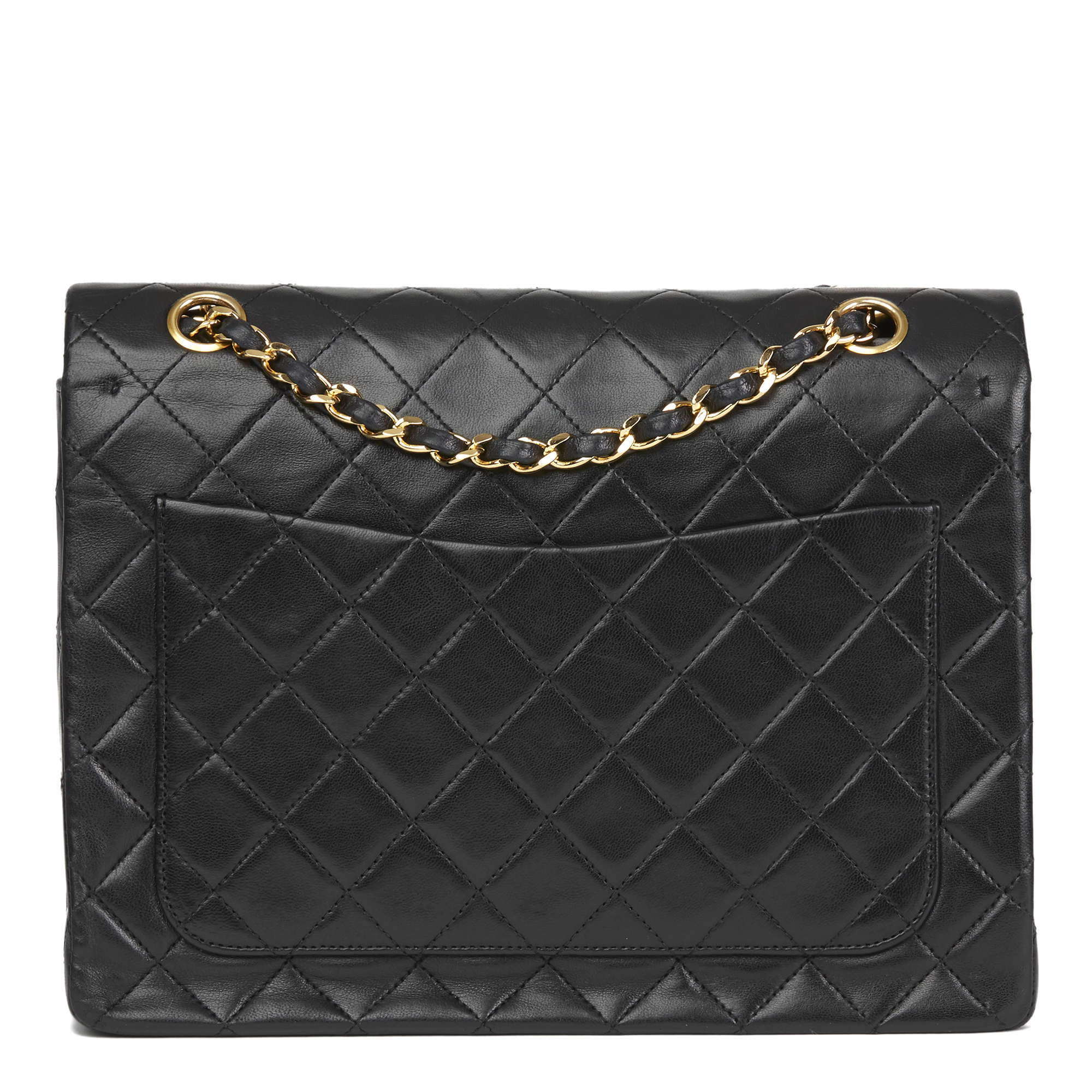 97e2fed37c9 Details about CHANEL BLACK QUILTED LAMBSKIN VINTAGE MEDIUM TALL CLASSIC  DOUBLE FLAP BAG