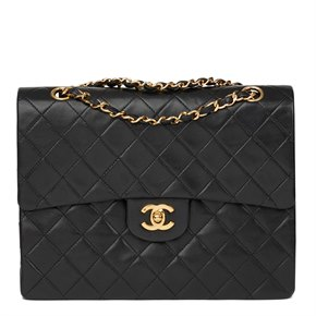 Chanel Black Quilted Lambskin Vintage Medium Tall Classic Double Flap Bag