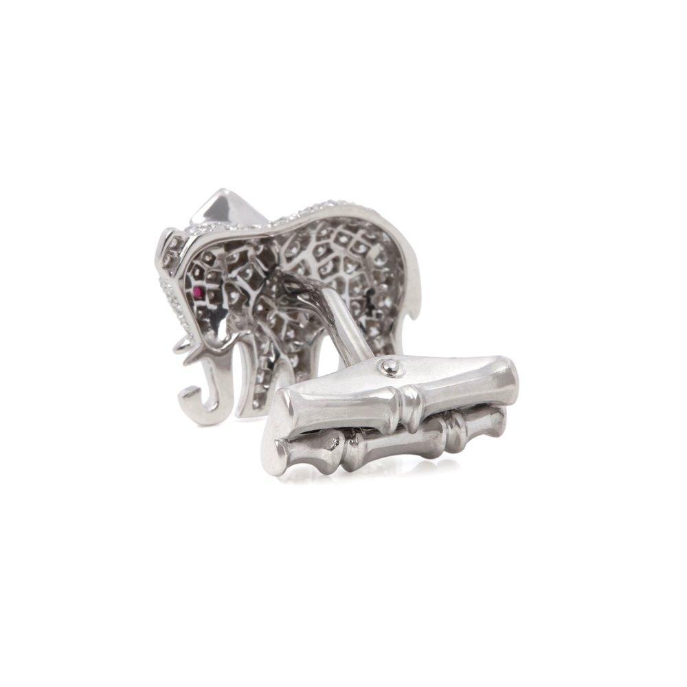 Cartier 18k White Gold Diamond & Ruby Elephant Cufflinks
