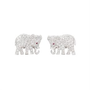Cartier 18k White Gold Diamond & Ruby Elephant Cufflinks