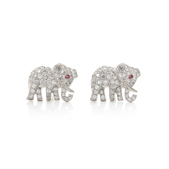 Cartier 18k White Gold Diamond & Ruby Elephant Bespoke Stud Earrings
