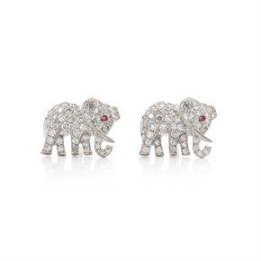 Cartier 18k White Gold Diamond & Ruby Elephant Bespoke Stud Earrings