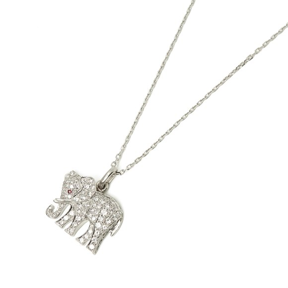 Cartier 18k White Gold Large Bespoke Elephant Pendant Necklace