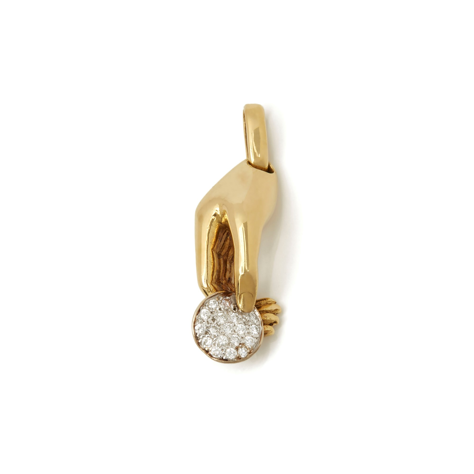 Cartier 18k Yellow & White Gold Diamond Vintage Hand Pendant