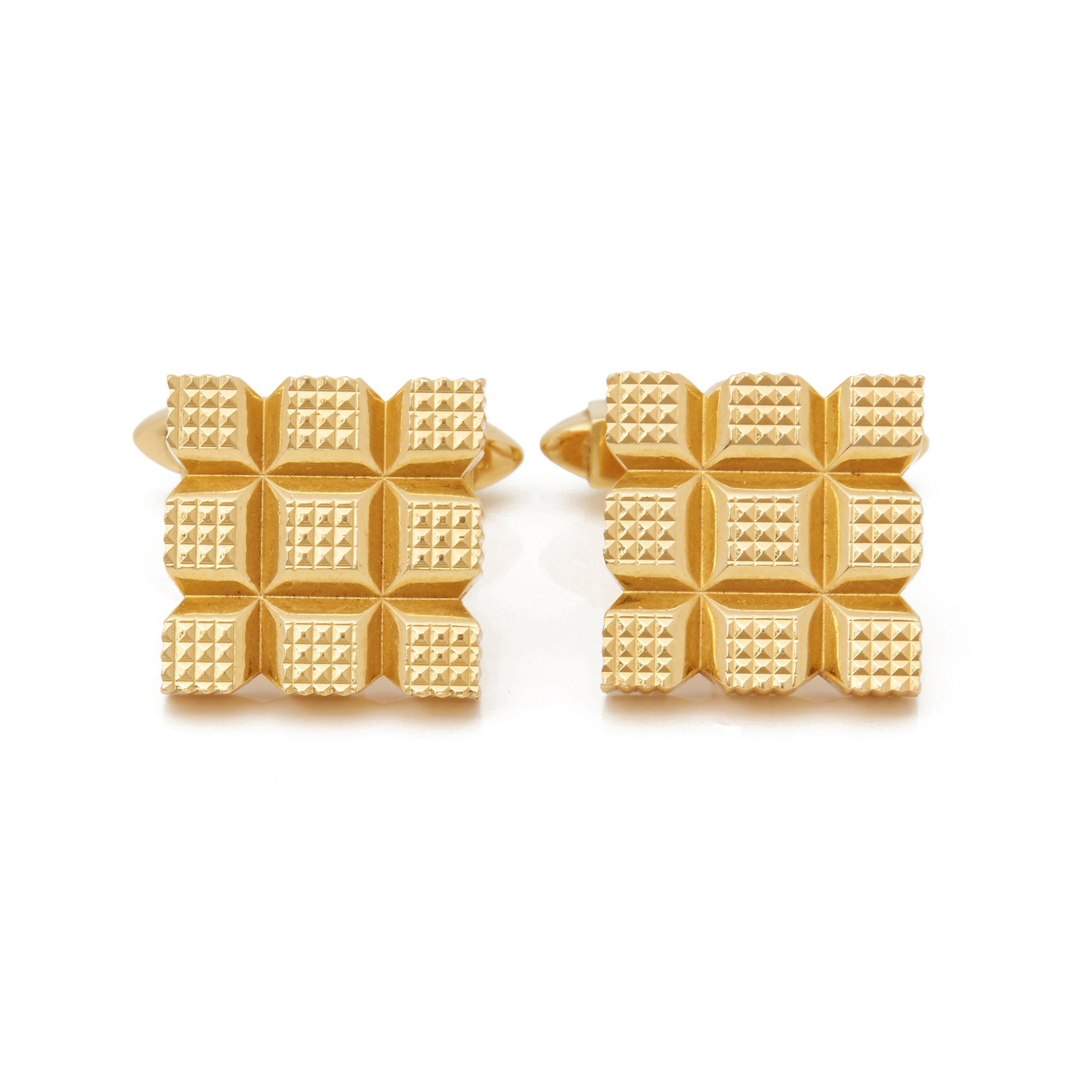 Kutchinsky 18k Yellow Gold Vintage Square Grooved Cufflinks