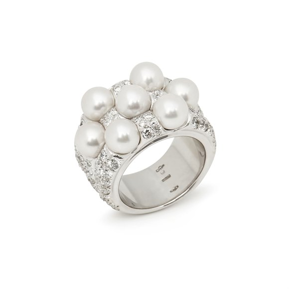 Mikimoto 18k White Gold Akoya Pearl & Diamond Cocktail Ring