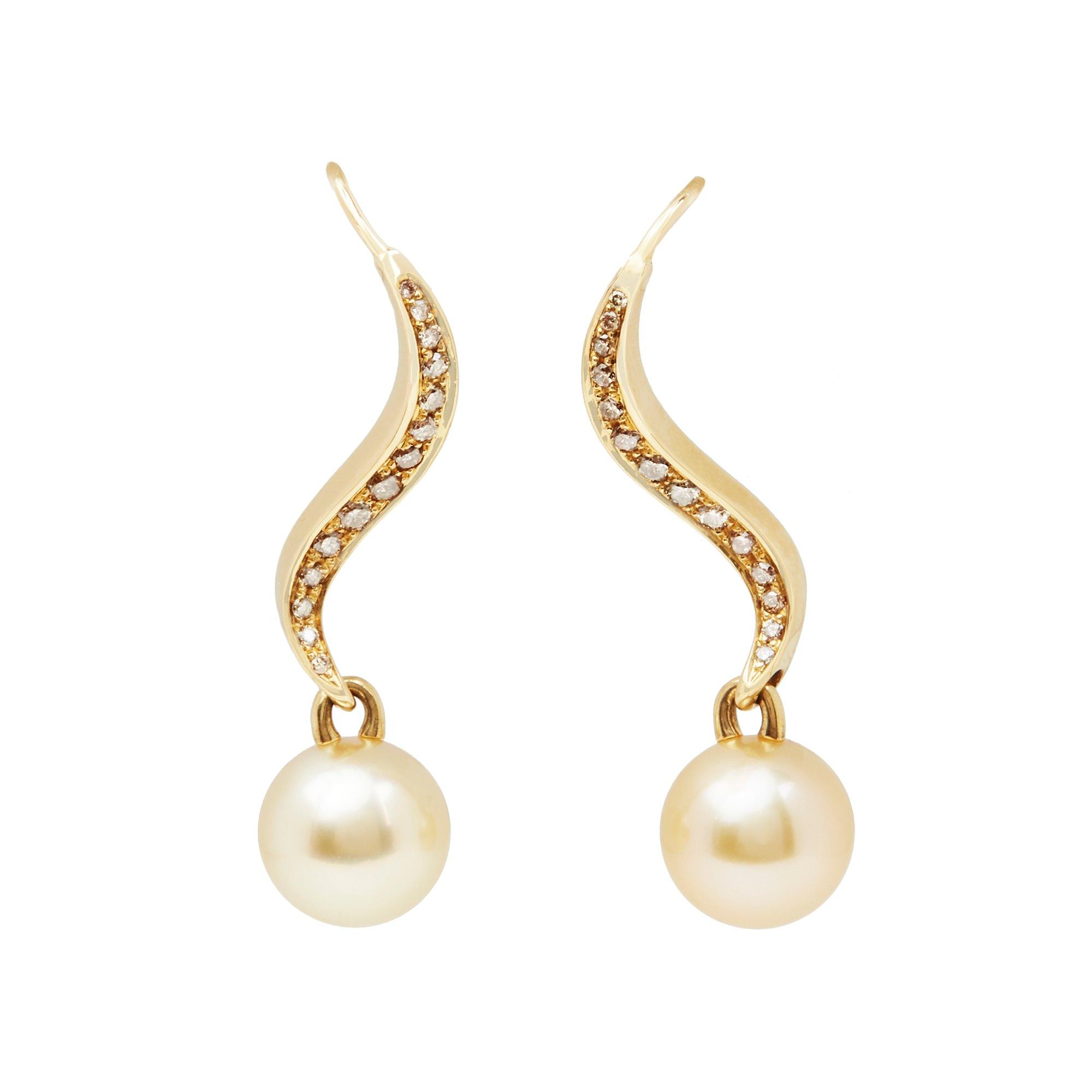 Mikimoto 18k Yellow Gold Akoya Pearl & Diamond Earrings