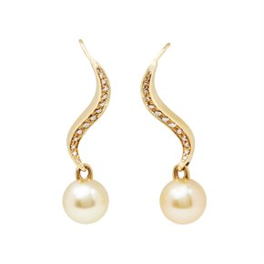 Mikimoto 18k Yellow Gold Akoya Pearl & Diamond Earrings