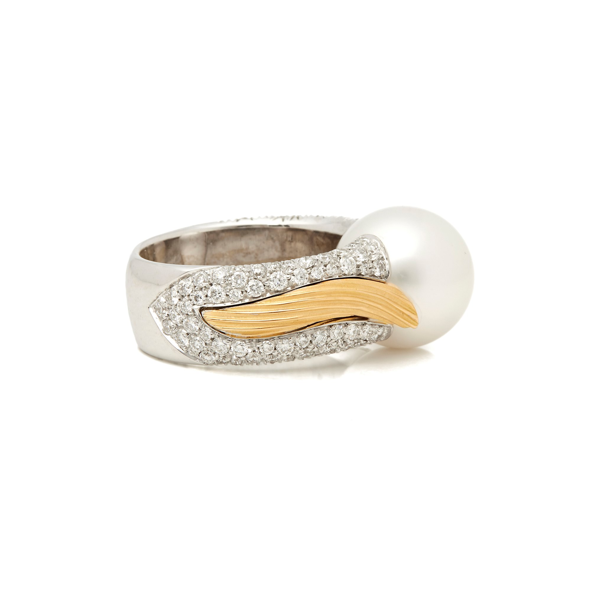 Mikimoto 18k White & Yellow Gold Akoya Pearl & Diamond Cocktail Ring