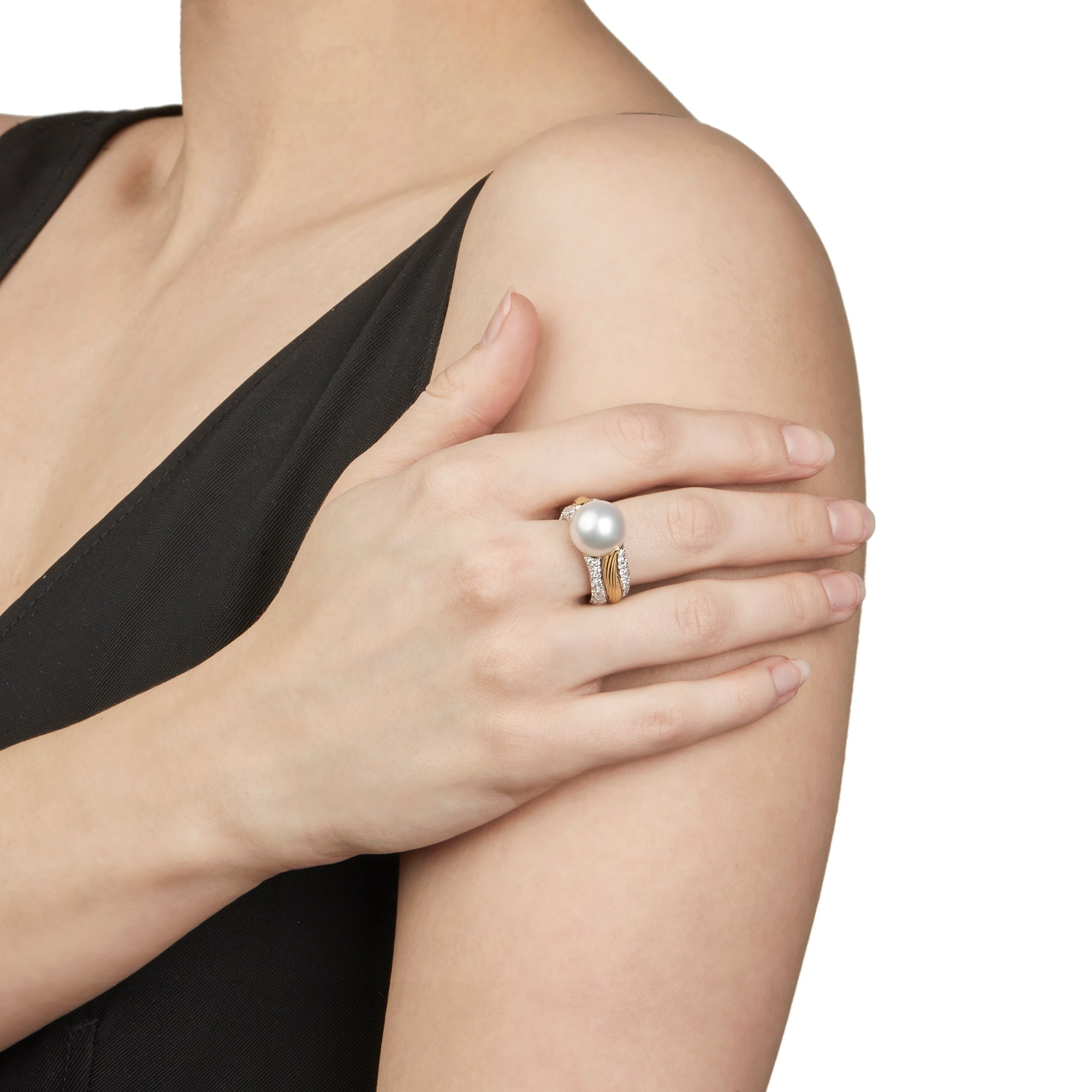 Mikimoto 18k White & Yellow Gold Akoya Pearl & Diamond Cocktail Ring