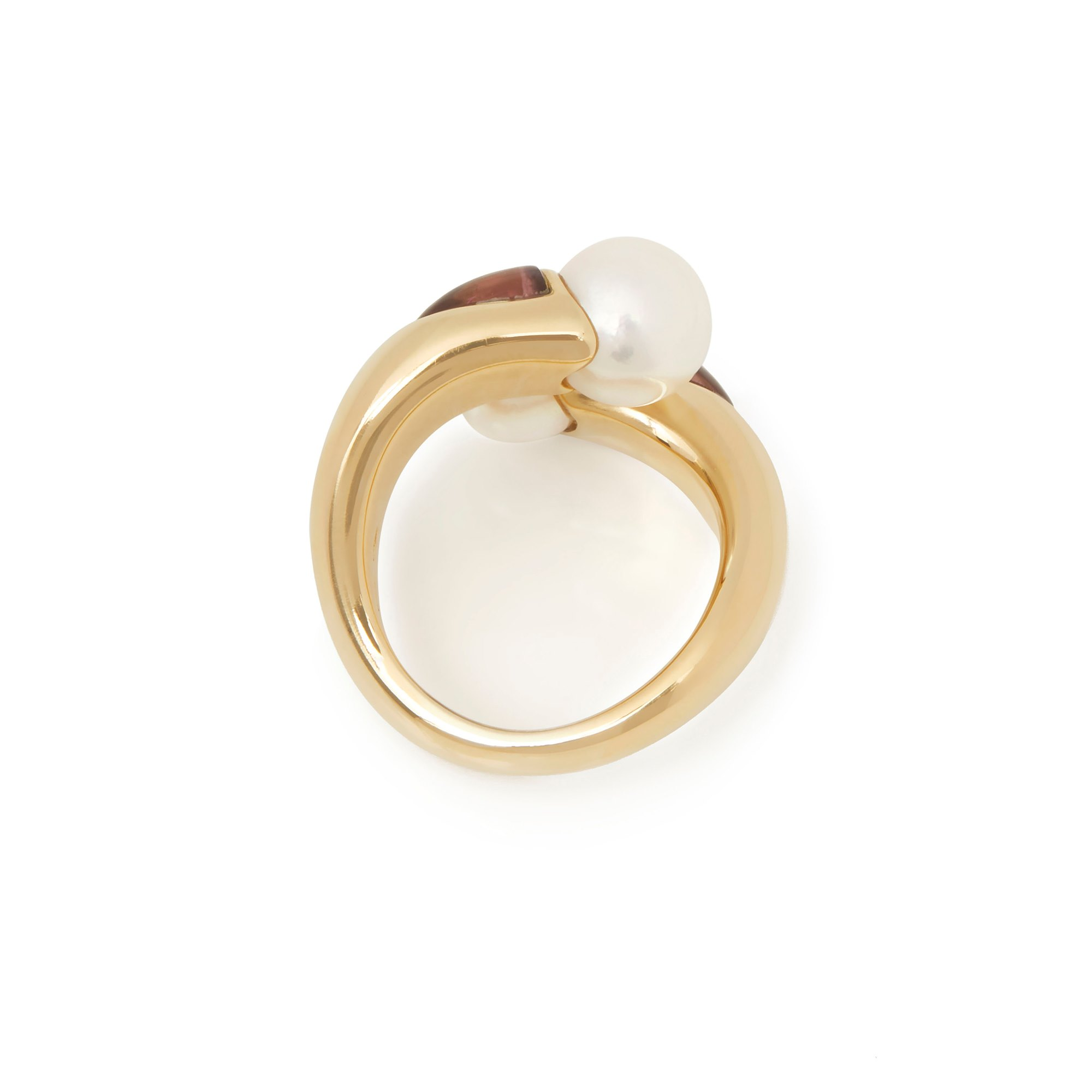 Mikimoto 18k Yellow Gold Akoya Pearl & Tourmaline Ring