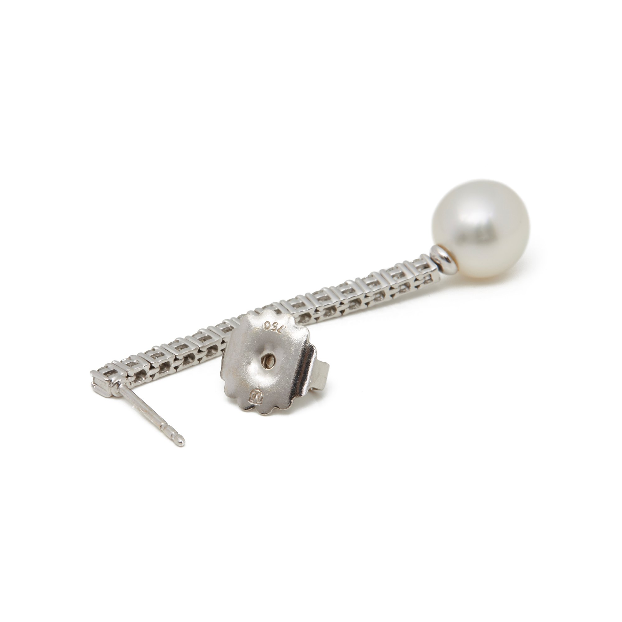 Mikimoto 18k White Gold Akoya Pearl & Diamond Drop Earrings