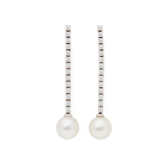 Mikimoto 18k White Gold Akoya Pearl & Diamond Drop Earrings