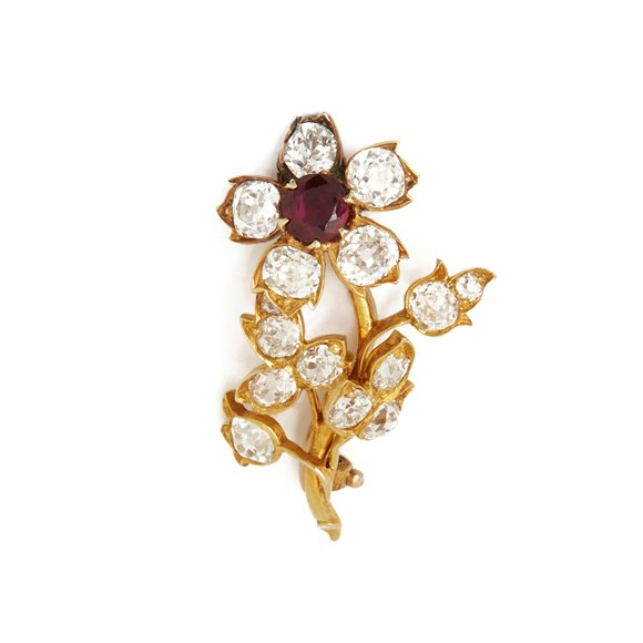 18k Yellow Gold Burmese Ruby & Diamond Vintage Flower Brooch