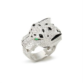 Cartier 18k White Gold Diamond Panthère Ring