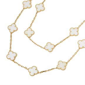 Van Cleef & Arpels 18k Yellow Gold White Coral 20 Motif Vintage Alhambra Necklace
