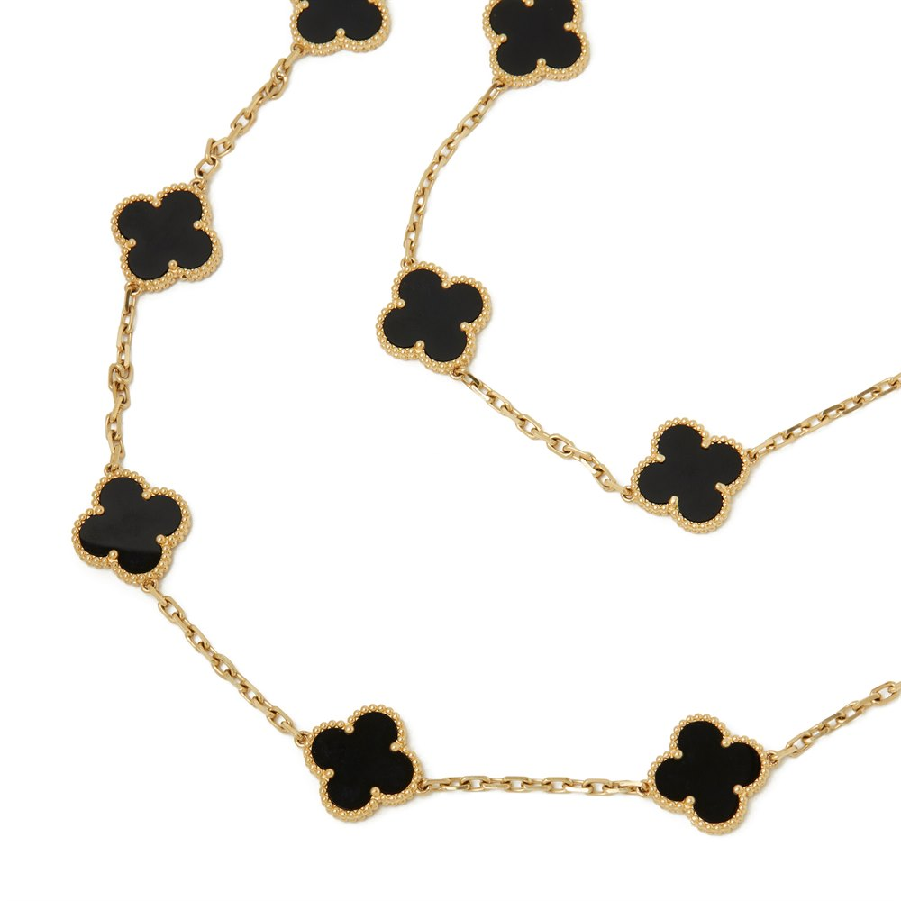 Van Cleef & Arpels 18k Yellow Gold Onyx 20 Motif Vintage Alhambra Necklace