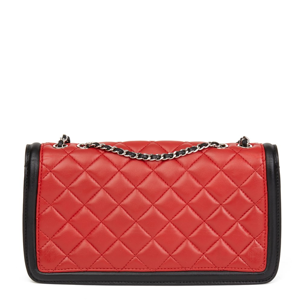 c0662d730868 Chanel Red, Black & White Quilted Lambskin Classic Single Flap Bag