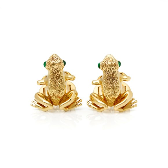 Tiffany & Co. 18k Yellow Gold Cabochon Emerald Frog Cufflinks