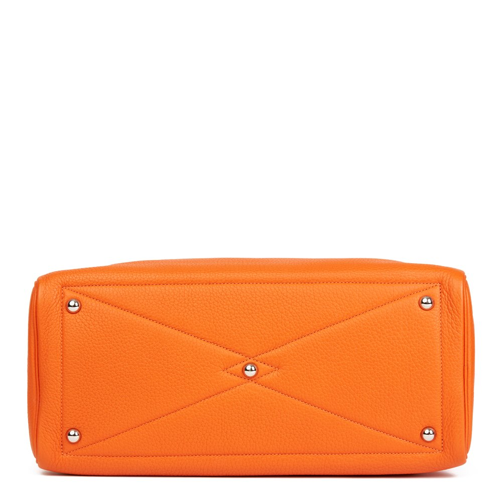 Hermès Orange H Clemence Leather Victoria II 35