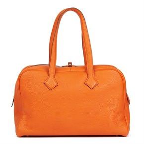 Hermès Orange H Clemence Leather Victoria II 35