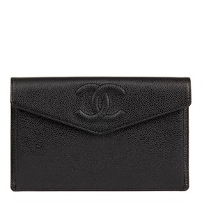 Chanel Black Caviar Leather Timeless Pouch Wallet