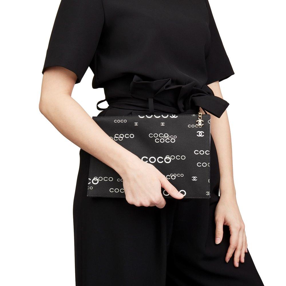 Chanel Black Canvas Coco Pouch