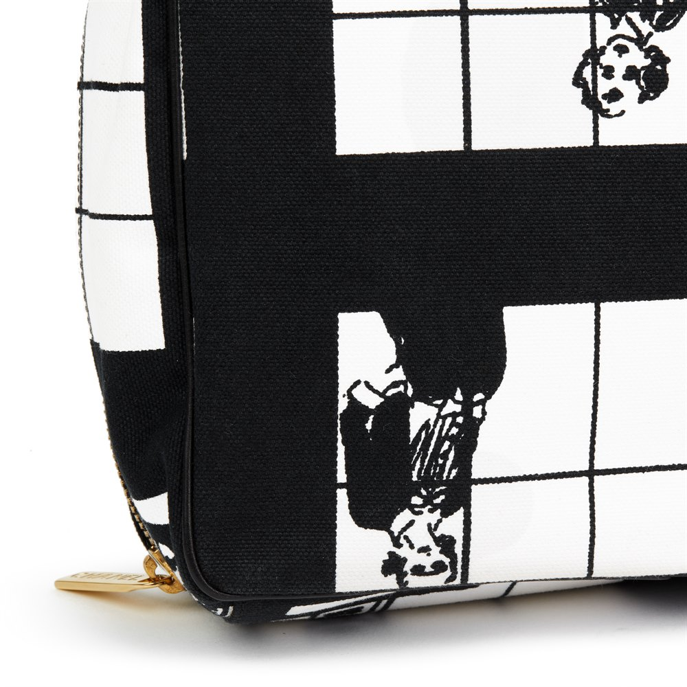 Chanel Black & White Canvas 'Window Line' Toiletry Pouch