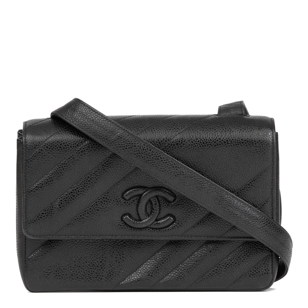 4b661877dc4e Chanel Black Diagonal Quilted Caviar Leather Vintage Leather Logo Shoulder  Bag