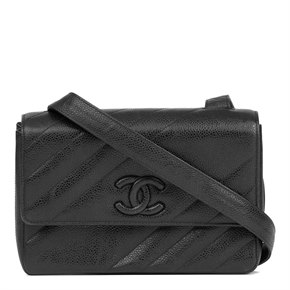 Chanel Black Diagonal Quilted Caviar Leather Vintage Leather Logo Shoulder Bag