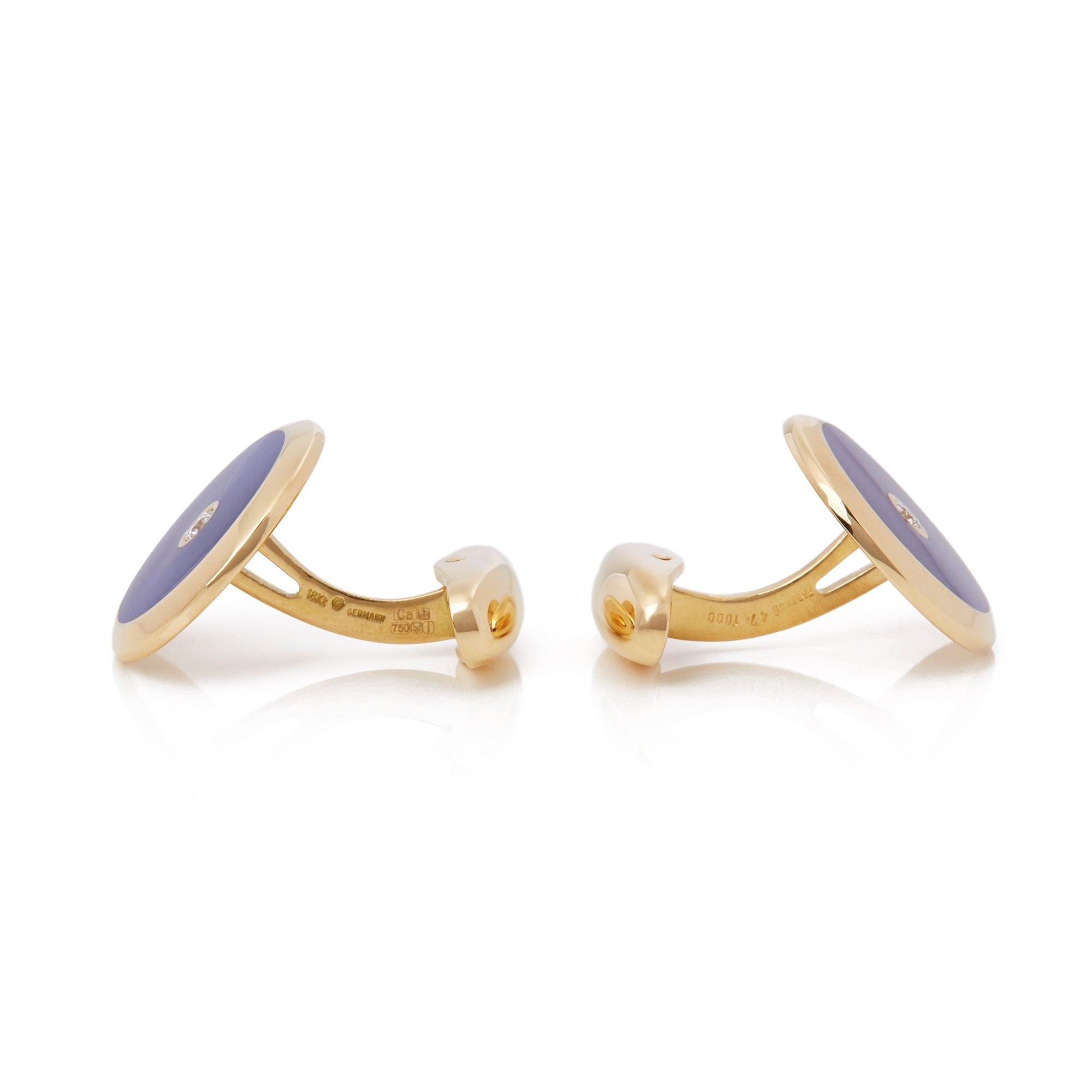 Fabergé 18k Yellow Gold Blue Enamel Diamond Cufflinks