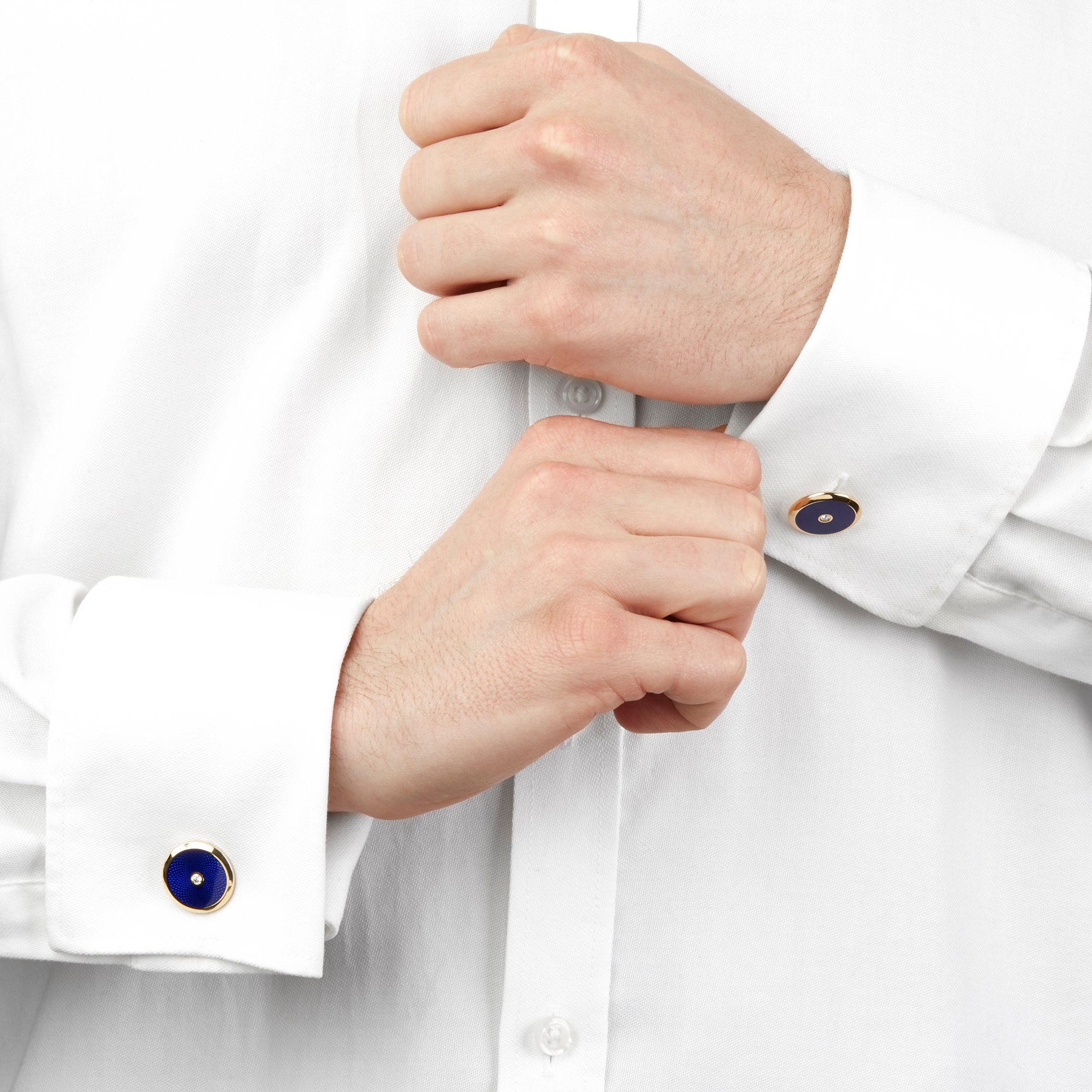 Fabergé 18k Yellow Gold Blue Enamel Diamond Cufflinks
