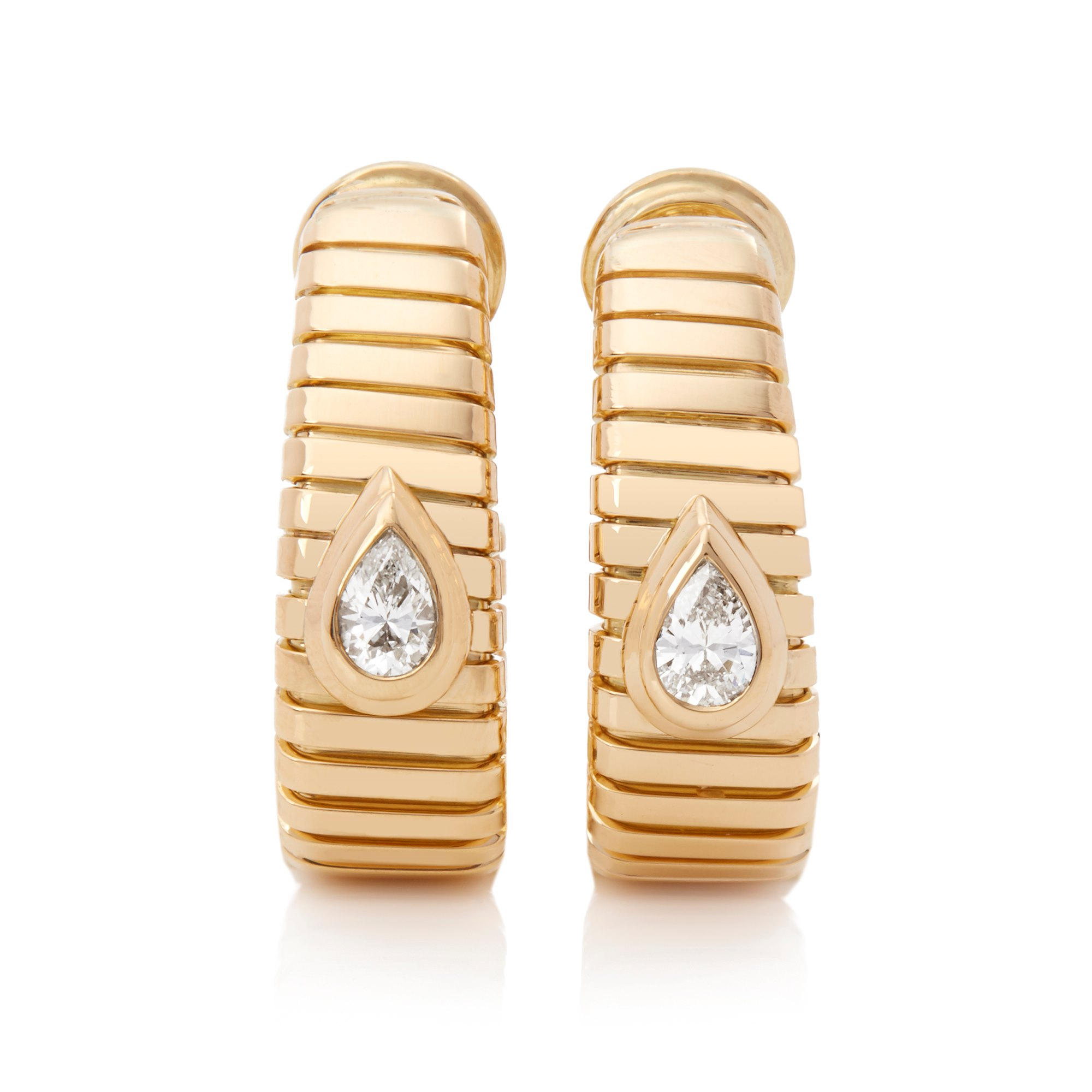 Bulgari 18k Yellow Gold Pear Cut Diamond Tubogas Earrings