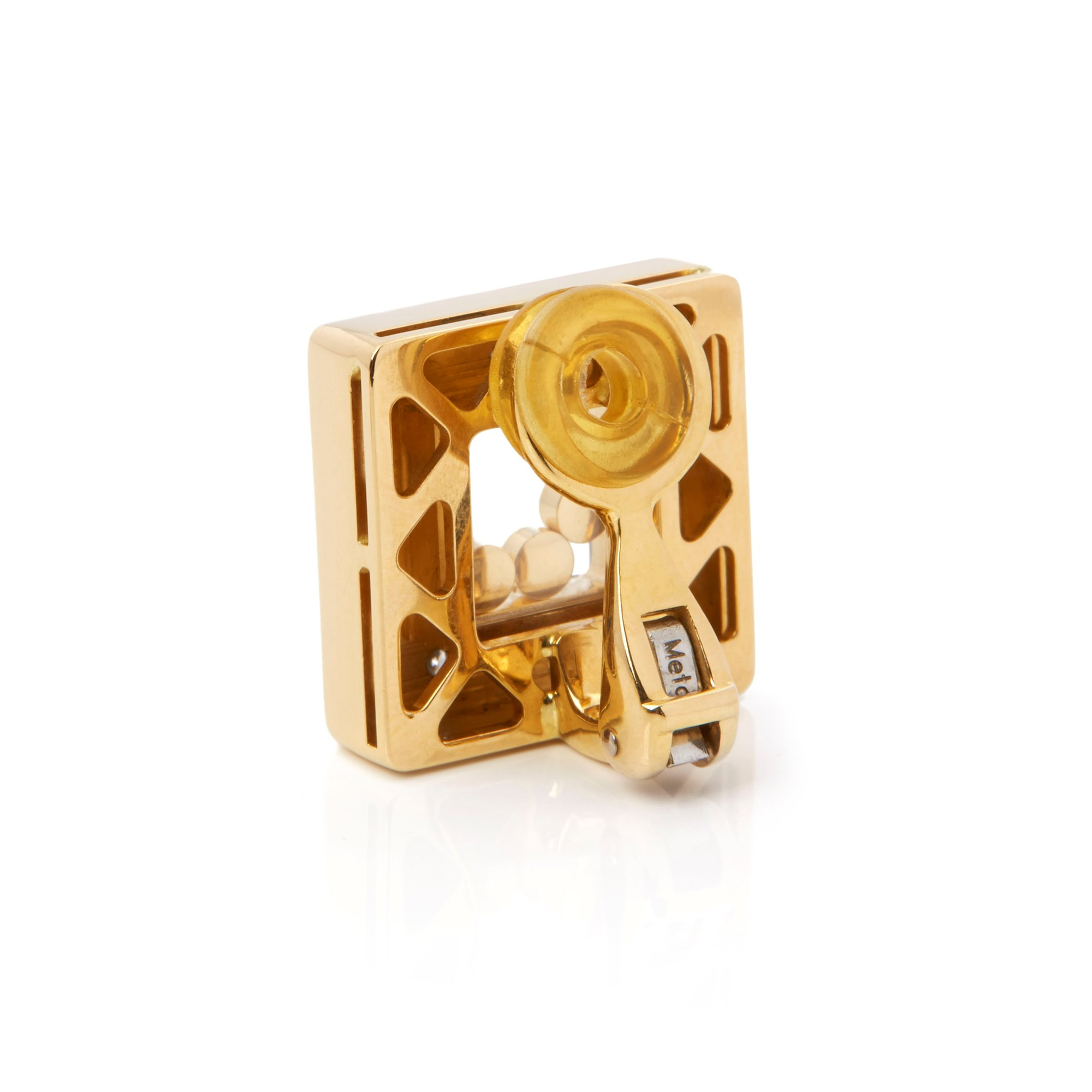 Chopard 18k Yellow Gold Happy Diamonds Square Earrings