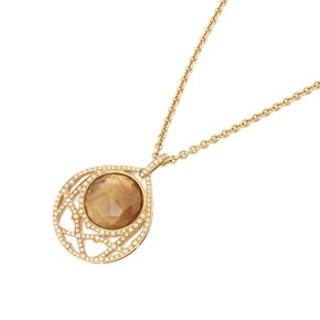 Stephen Webster 18k Yellow Gold Citrine & Diamond Crystal Haze Pendant Necklace