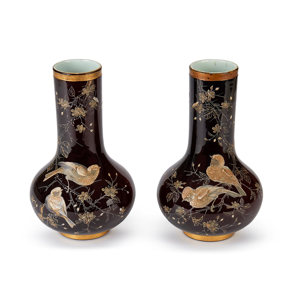 PAIR RUBY OVERLAY BIRD APPLIED GLASS VASES 19TH C. Latter 19th Century