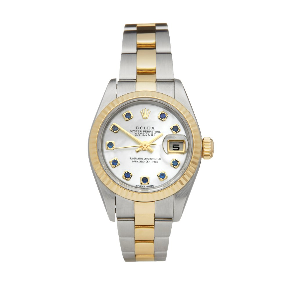 Rolex DateJust 26 Mother of Pearl Sapphire Dial Stainless Steel & Yellow Gold 79173