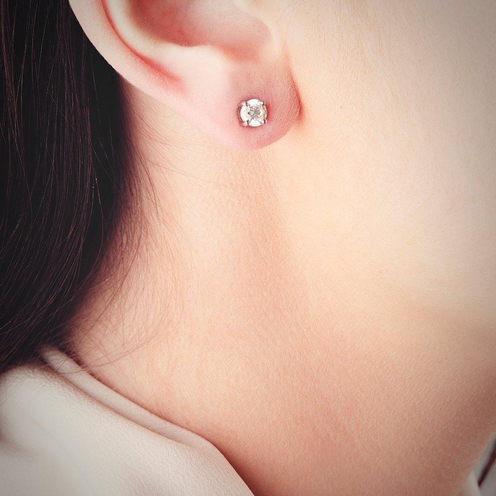 Platinum  Platinum 1.06ct Round Brilliant Cut Diamond Stud Earrings